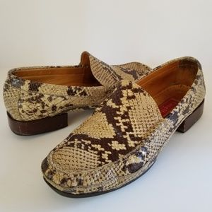 Cole Haan Leather Reptile Design Loafers - 7.5